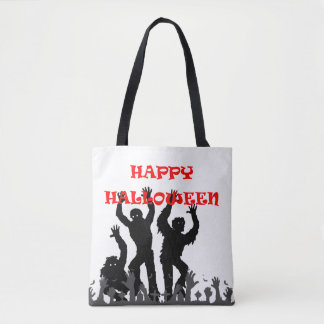 Halloween drooling zombie tote bag