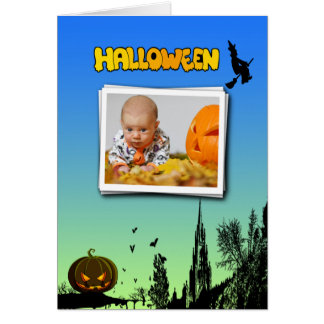 Halloween Dusk with Witch Add Photo Frame Card