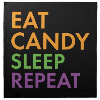 Halloween - Eat Candy, Sleep, Repeat - Novelty Napkin