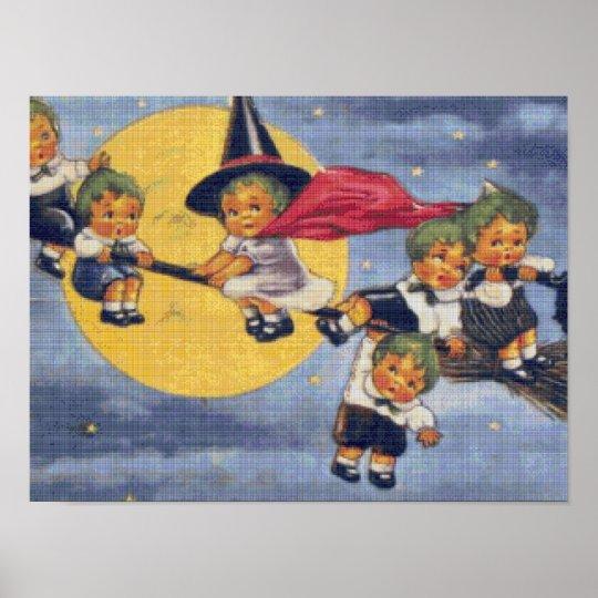 Halloween Elves Cross Stitch Poster