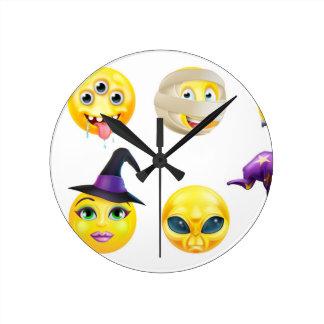 Halloween Emoticon Icon Set Round Clock