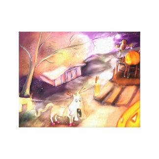 Halloween Equitation Art Canvas Print