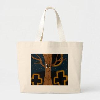 Halloween - evil tree large tote bag