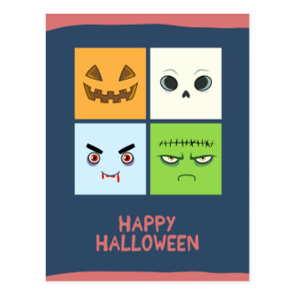 Halloween Faces Postcard