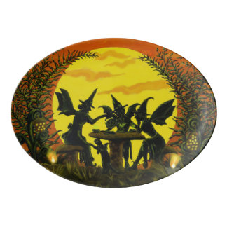 Halloween fairy witches platter porcelain serving platter