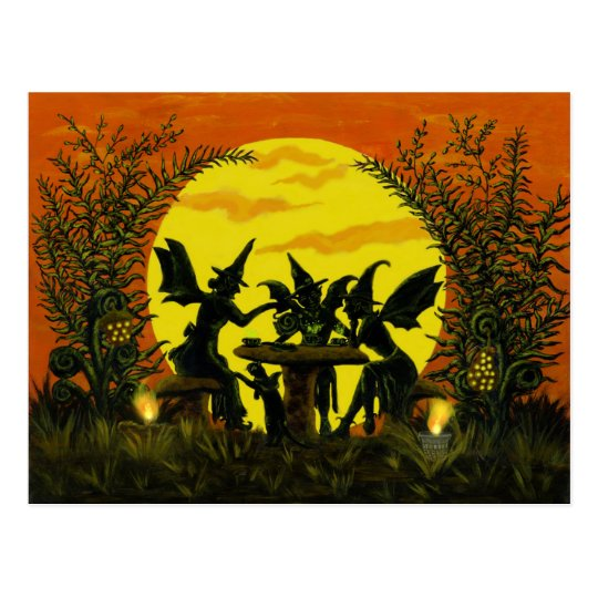 Halloween fairy witches postcard