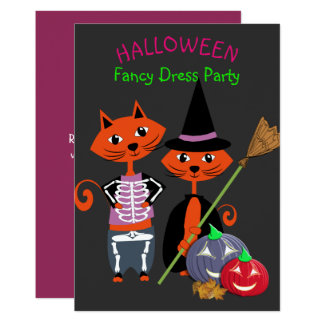 Halloween Fancy Dress Editable Cute Fun Party Card