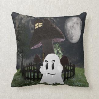 Halloween fanged ghost throw cushion