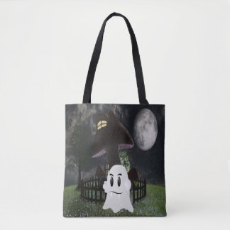 Halloween fanged ghost tote bag