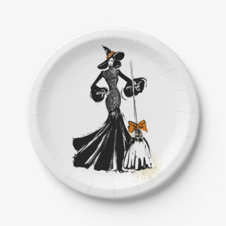 halloween fashion illustration with a broom paper plate