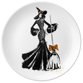 halloween fashion illustration with a broom plate