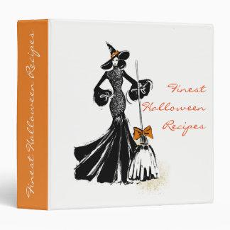 halloween fashion illustration with a broom vinyl binder