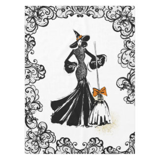 halloween fashion illustration with black lace tablecloth