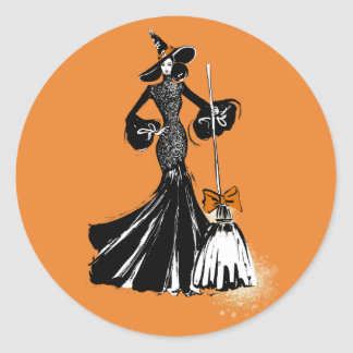 halloween fashionillustration with a broom classic round sticker