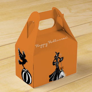 halloween fashionillustration with a broom favor box