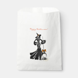 halloween fashionillustration with a broom favour bag