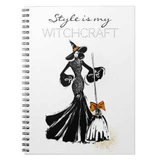 halloween fashionillustration with a broom spiral notebook