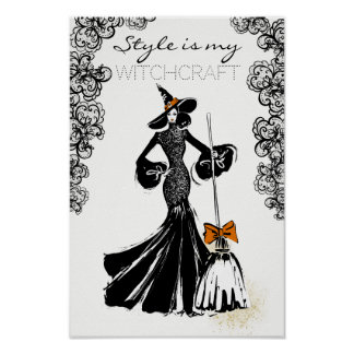 halloween fashionillustration with black lace poster