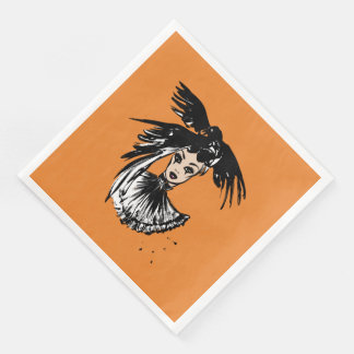 halloween fashonillustration with ravens paper napkin