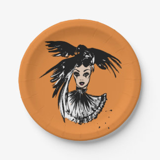 halloween fashonillustration with ravens paper plate