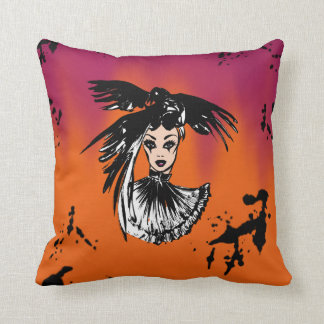 halloween fashonillustration with ravens throw pillow