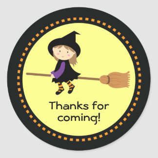 Halloween Favor Personalized Flying Witch Stickers