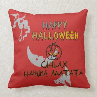 Halloween favorite holiday spooky blackcat pumpkin throw pillow
