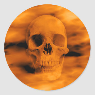 Halloween firey skull gothic horror envelope seals round sticker