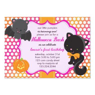 "Halloween First Birthday Little Bat, Cat & Pumpkin 5"" X 7"" Invitation Card"