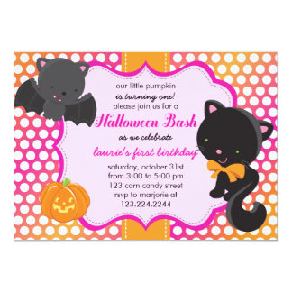 Halloween First Birthday Little Bat, Cat & Pumpkin Card