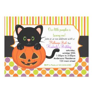 Halloween First Birthday Party Cute Pumpkin Cat Custom Announcement