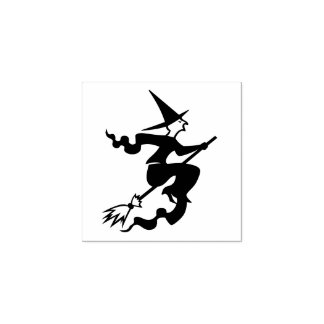 Halloween Flying Witch on Broom Kids DIY Art Craft Rubber Stamp