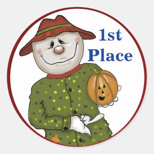 Halloween Folk Scarecrow Contest Prize Sticker