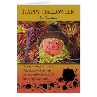 Halloween for Grandmother, Scarecrow and Poem Card
