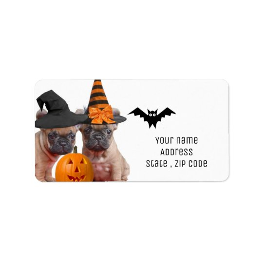 Halloween French Bulldogs address labels