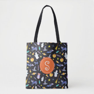 Halloween Friends Pattern Monogram Tote Bag