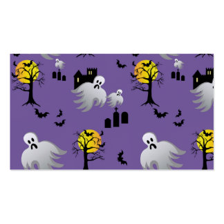 Halloween Full Moon Ghosts on Purple Pack Of Standard Business Cards
