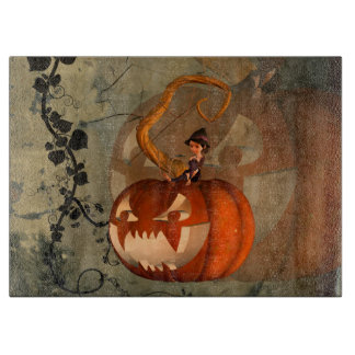 Halloween, funny pumpkin with cute witch boards