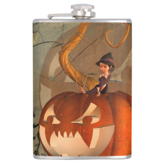 Halloween, funny pumpkin with cute witch flasks