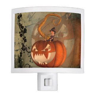 Halloween, funny pumpkin with cute witch nite lites