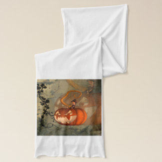 Halloween, funny pumpkin with cute witch scarf