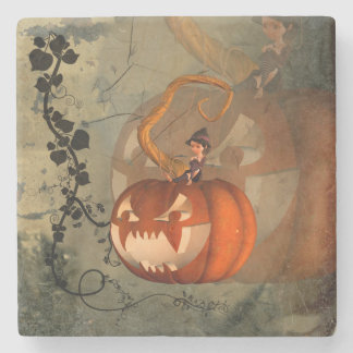 Halloween, funny pumpkin with cute witch stone coaster