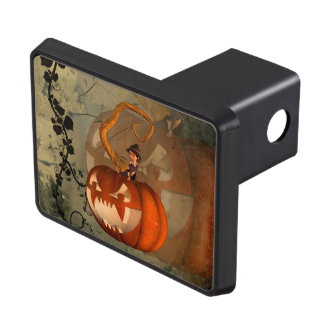 Halloween, funny pumpkin with cute witch trailer hitch cover