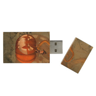 Halloween, funny pumpkin with cute witch wood USB 2.0 flash drive