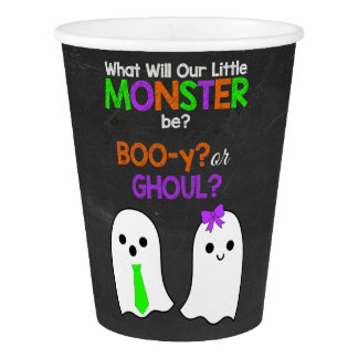 Halloween Gender Reveal Paper Cups - BOOy or Ghoul Paper Cup