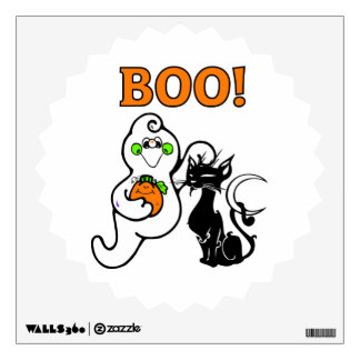 Halloween Ghost and Black Cat Wall Sticker