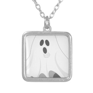 Halloween Ghost - BOO! Silver Plated Necklace