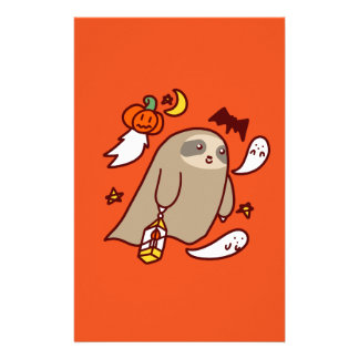 Halloween Ghost Sloth Customized Stationery
