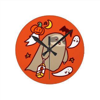 Halloween Ghost Sloth Round Clock