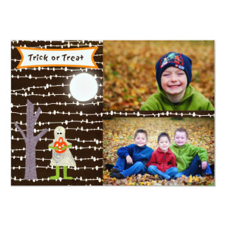 Halloween Ghost Trick or treat photo card- TBO Card